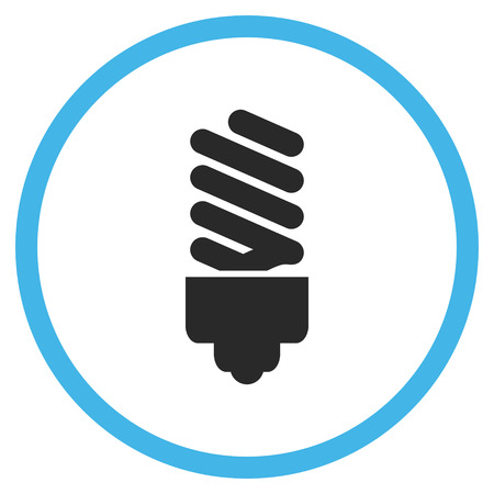 halogen: Fluorescent Bulb vector bicolor icon. Image style is a flat icon symbol inside a circle, blue and gray colors, white background. Illustration