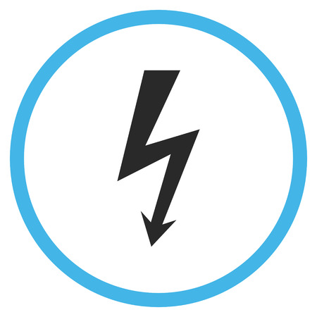 voltage symbol: High Voltage vector bicolor icon. Image style is a flat icon symbol inside a circle, blue and gray colors, white background.