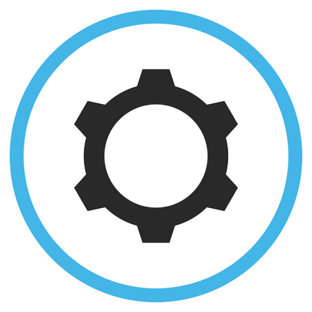 config: Gear vector bicolor icon. Image style is a flat icon symbol inside a circle, blue and gray colors, white background.