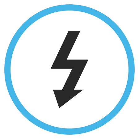 voltage gray: High Voltage vector bicolor icon. Image style is a flat icon symbol inside a circle, blue and gray colors, white background.