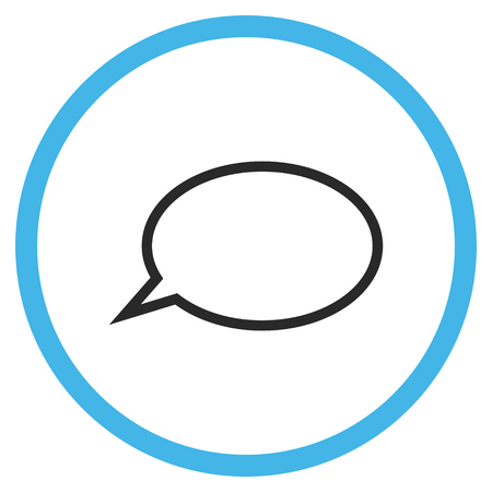 Hint Cloud vector bicolor icon. Image style is a flat icon symbol inside a circle, blue and gray colors, white background.