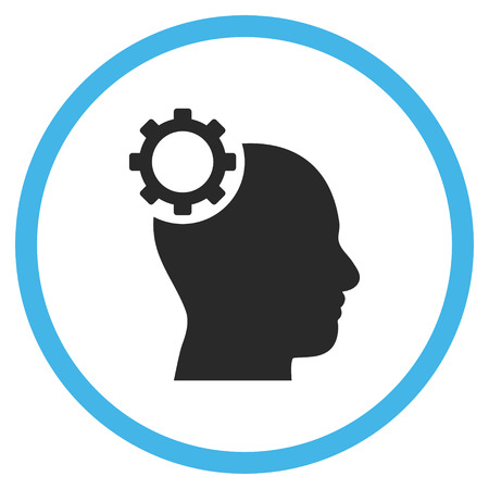intellect: Intellect Gear vector bicolor icon. Image style is a flat icon symbol inside a circle, blue and gray colors, white background. Illustration