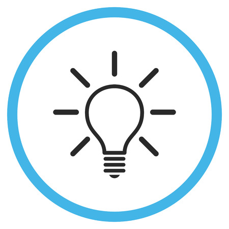 light emission: Light Bulb vector bicolor icon. Image style is a flat icon symbol inside a circle, blue and gray colors, white background.