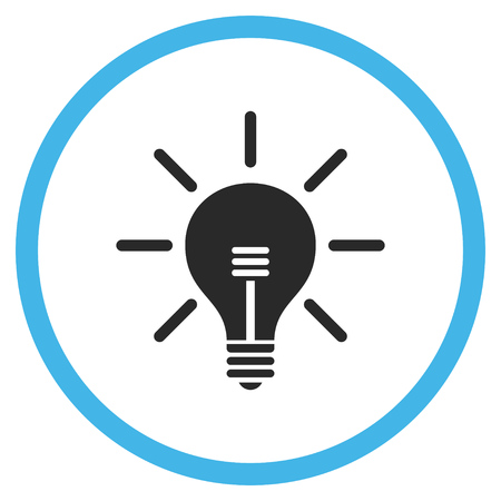 gray bulb: Light Bulb vector bicolor icon. Image style is a flat icon symbol inside a circle, blue and gray colors, white background.