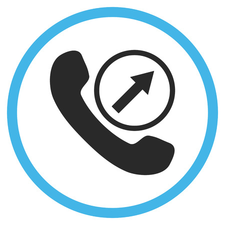 outgoing: Outgoing Call vector bicolor icon. Image style is a flat icon symbol inside a circle, blue and gray colors, white background.