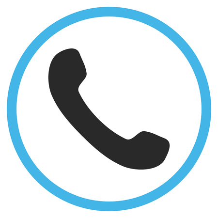 phone receiver: Phone Receiver vector bicolor icon. Image style is a flat icon symbol inside a circle, blue and gray colors, white background.