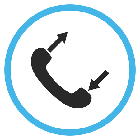 phone talking: Phone Talking vector bicolor icon. Image style is a flat icon symbol inside a circle, blue and gray colors, white background.