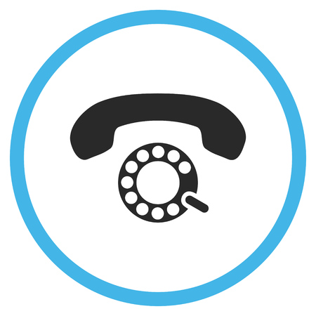 telephony: Pulse Dialing vector bicolor icon. Image style is a flat icon symbol inside a circle, blue and gray colors, white background.