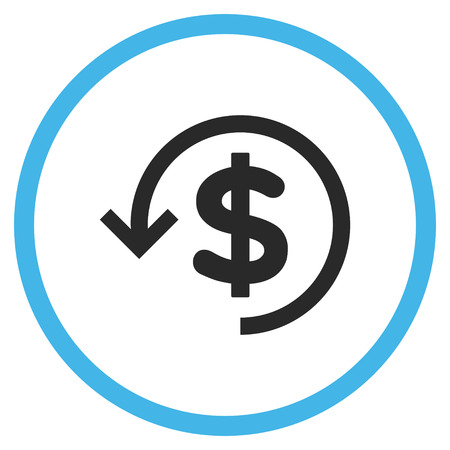 moneyback: Refund vector bicolor icon. Image style is a flat icon symbol inside a circle, blue and gray colors, white background.