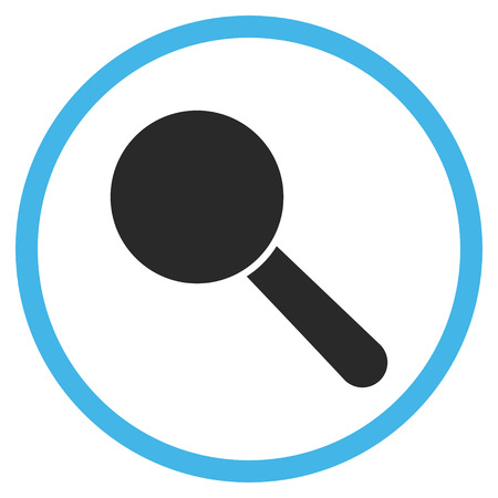 look up: Search Tool vector bicolor icon. Image style is a flat icon symbol inside a circle, blue and gray colors, white background.