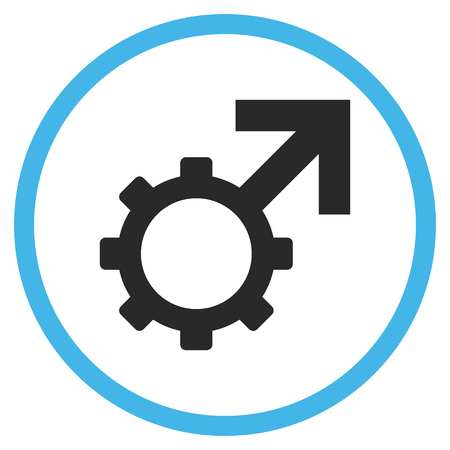 penetrate: Technological Potence vector bicolor icon. Image style is a flat icon symbol inside a circle, blue and gray colors, white background.