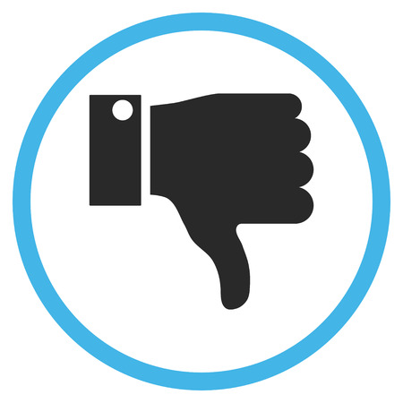 ugly gesture ugly gesture: Thumb Down vector bicolor icon. Image style is a flat icon symbol inside a circle, blue and gray colors, white background.