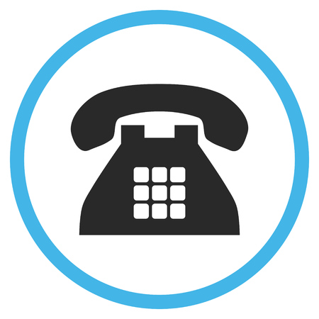 telephone icon: Tone Phone vector bicolor icon. Image style is a flat icon symbol inside a circle, blue and gray colors, white background.