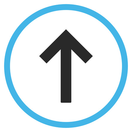 up arrow: Up Arrow vector bicolor icon. Image style is a flat icon symbol inside a circle, blue and gray colors, white background. Illustration