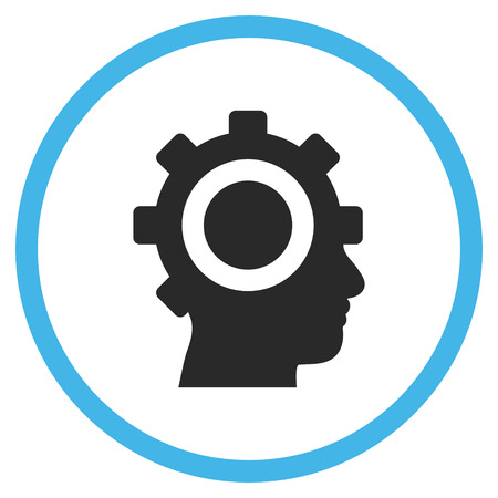 robo: Cyborg Gear vector bicolor icon. Image style is a flat icon symbol inside a circle, blue and gray colors, white background. Illustration