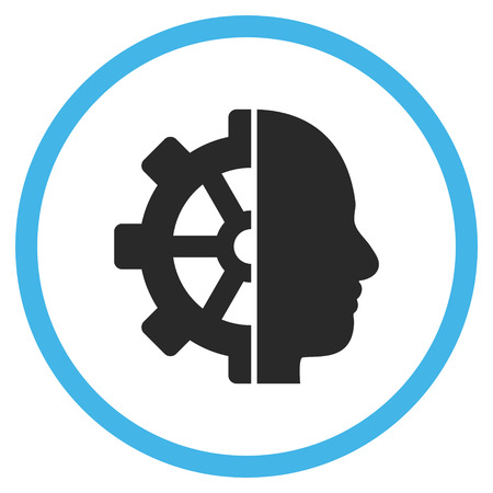config: Cyborg Gear vector bicolor icon. Image style is a flat icon symbol inside a circle, blue and gray colors, white background. Illustration