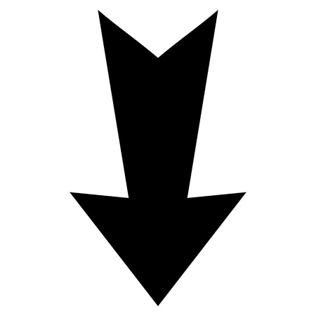 failing: Arrow Down vector icon. Style is flat icon symbol, black color, white background.