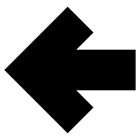 backwards: Arrow Left vector icon. Style is flat icon symbol, black color, white background.