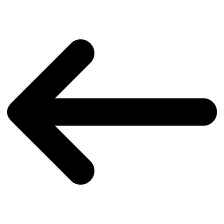 Arrow Left vector icon. Style is flat icon symbol, black color, white background.