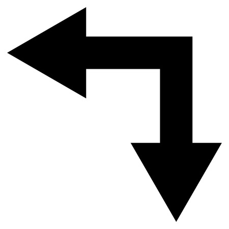bifurcation: Bifurcation Arrow Left Down vector icon. Style is flat icon symbol, black color, white background.