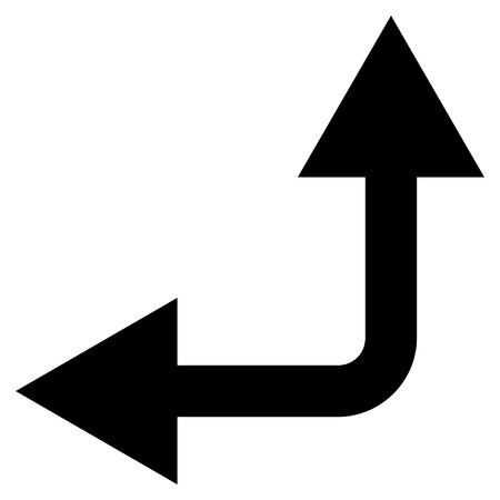 bifurcation: Bifurcation Arrow Left Up vector icon. Style is flat icon symbol, black color, white background.