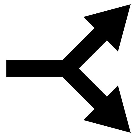 bifurcation: Bifurcation Arrow Right vector icon. Style is flat icon symbol, black color, white background.