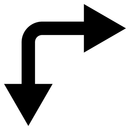 bifurcation: Bifurcation Arrow Right Down vector icon. Style is flat icon symbol, black color, white background.