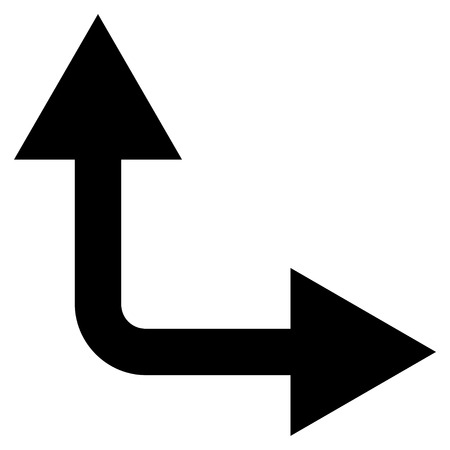bifurcation: Bifurcation Arrow Right Up vector icon. Style is flat icon symbol, black color, white background. Illustration
