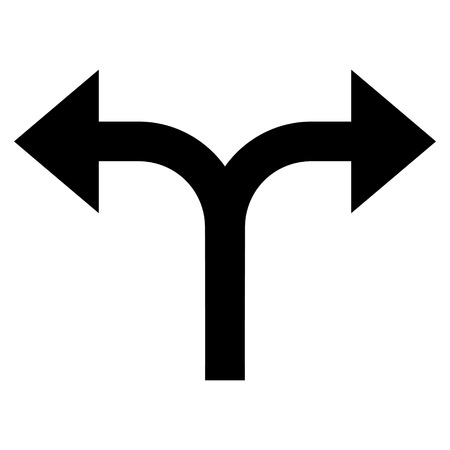 bifurcation: Bifurcation Arrows Left Right vector icon. Style is flat icon symbol, black color, white background.