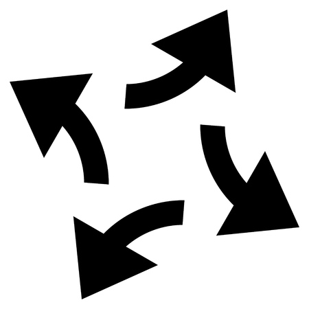 revolve: Centrifugal Arrows vector icon. Style is flat icon symbol, black color, white background. Illustration