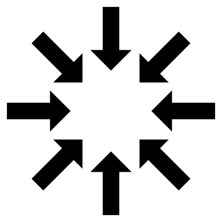 shrink: Collapse Arrows vector icon. Style is flat icon symbol, black color, white background. Illustration