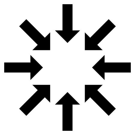 collapse: Contraer icono de las flechas del vector. El estilo es símbolo de icono plana, de color negro, fondo blanco.