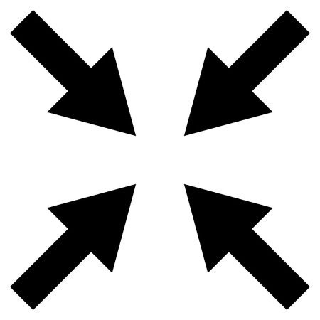 compress: Compress Arrows vector icon. Style is flat icon symbol, black color, white background. Illustration