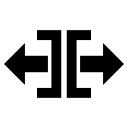 reshape: Divide Horizontal Direction vector icon. Style is flat icon symbol, black color, white background.