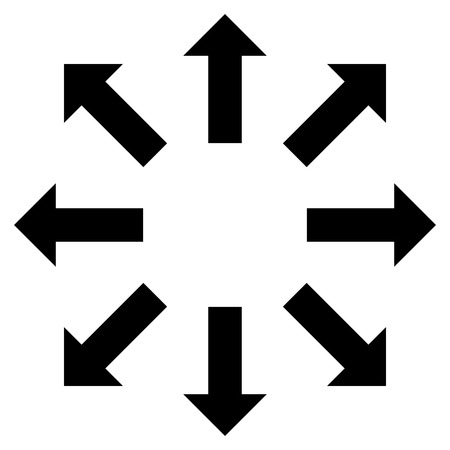 re: Explode Arrows vector icon. Style is flat icon symbol, black color, white background.