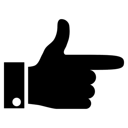 proceed: Hand Pointer Right vector icon. Style is flat icon symbol, black color, white background.