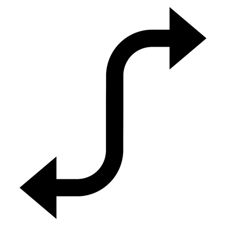 bend: Opposite Bend Arrow vector icon. Style is flat icon symbol, black color, white background. Illustration