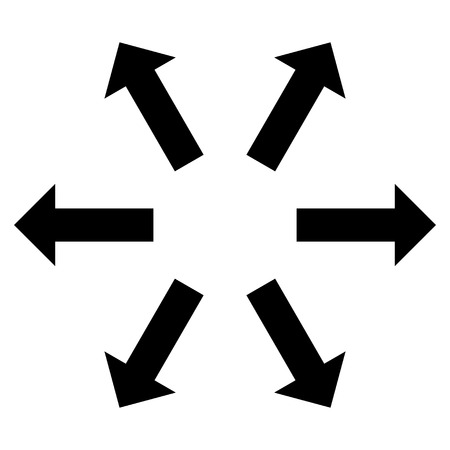 re design: Radial Arrows vector icon. Style is flat icon symbol, black color, white background.