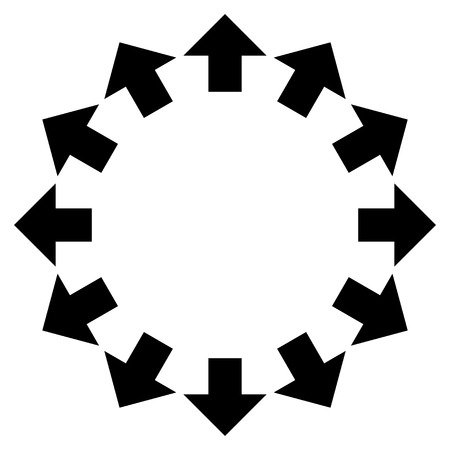 reshape: Radial Arrows vector icon. Style is flat icon symbol, black color, white background.