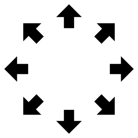 re: Radial Arrows vector icon. Style is flat icon symbol, black color, white background.