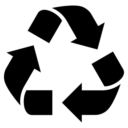 Recycle vector icon. Style is flat icon symbol, black color, white background. Illustration