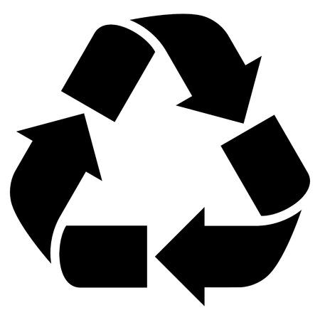 Recycler l'icône de vecteur. Le style est le symbole d'icône plate, couleur noire, fond blanc.
