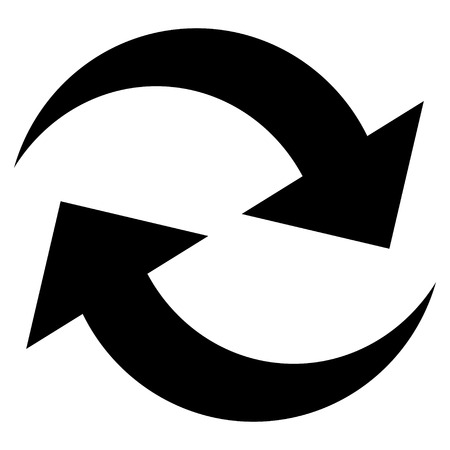 revolve: Refresh Arrows vector icon. Style is flat icon symbol, black color, white background.