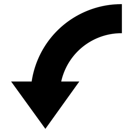 rotate: Rotate Down vector icon. Style is flat icon symbol, black color, white background.