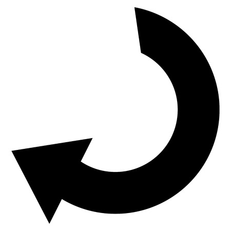 Rotate vector icon. Style is flat icon symbol, black color, white background. Illustration