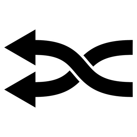 change of direction: Shuffle Arrows Left vector icon. Style is flat icon symbol, black color, white background.