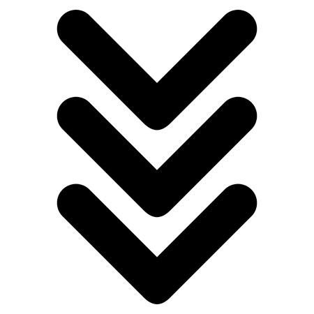triple: Triple Arrowhead Down vector icon. Style is flat icon symbol, black color, white background.