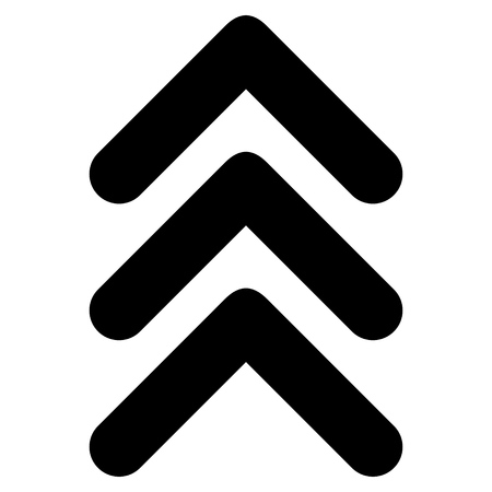 triple: Triple Arrowhead Up vector icon. Style is flat icon symbol, black color, white background. Illustration