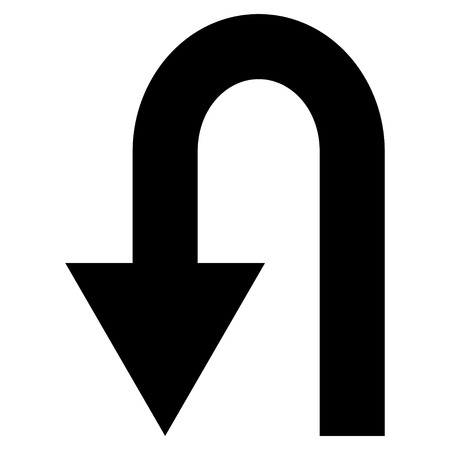 Turn Back vector icon. Style is flat icon symbol, black color, white background.