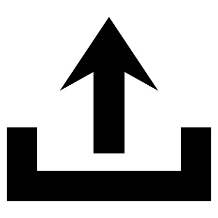 up arrow: Upload vector icon. Style is flat icon symbol, black color, white background.